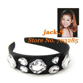 Free shipping! Romantic hairband with black satin and big diamond 2011 new hot sell headwear 12pcs/lot