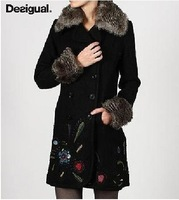 Free shipping!! DESIGUAL Black Embroidery Wool Blend Winter COAT 36-46