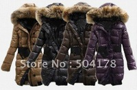 Женские пуховики, Куртки Winter Women's Down Jacket Plus Size Thickening Fur Collar Slim Waist Down Cotton Wadded Jacket Hot Sale Lady's Down Coat