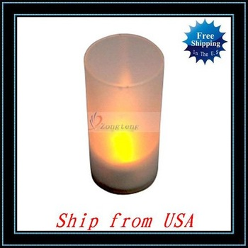 Free Shipping + 5pcs/lot Yellow LED Electronic Candle Light Sound Sensor Flicker Ship from USA - JA022YE