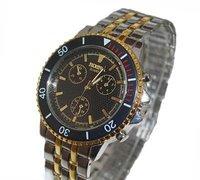 Free ship fee Massive stainless steel gold luxury jewelry gent man Wrist Watch K141