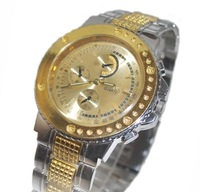 Free ship fee Massive stainless steel gold luxury jewelry gent man Wrist Watch K140