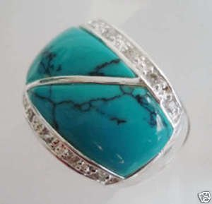 pretty Tibetan Silver Fine Men's turquoise rings Free Shipping(China (Mainland))