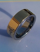 1Pcs best selling New Arrival Guaranteed 100% 8MM Tungsten Carbide Laserl Ring Gild By EMS shipping