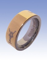 Wholesale 5Pcs best selling New Arrival Guaranteed 100% 8MM Tungsten Carbide Laserl Ring Gild By EMS shipping