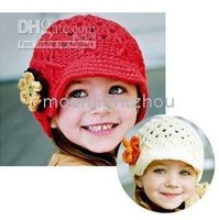 Baby Cap Hat kids children's baby hats cotton black headgear flower