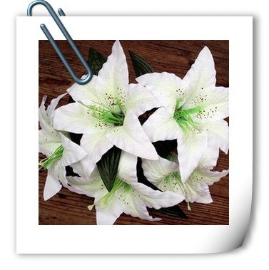 hot sell:Beautiful Artificial Flower Lily Head Silk Lily Head(China (Mainland))