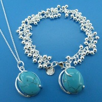 E533 free shipping 925 silver turquoise bracelet necklace set,925 Sterling Silver jewelry set,wholesale fashion jewelry sets