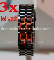 3pcs Lava Style Iron Samurai Metal LED Faceless Luxury Men's Watch + Free Shipping