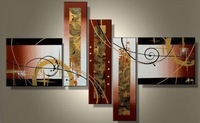 Free shipping astract 5 panels art deco wall deco handmade oil painting new arrival P4623