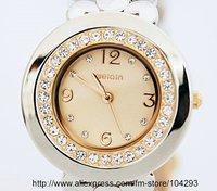 Free shipping 10pcs/ lot elegant quartz watch with crystal watch/ barcelet quartz watches/ gift watch/ W4084