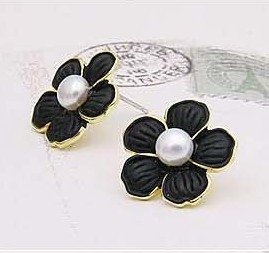 Free shipping elegant lovely black flower with pearl earring /jewelry/hairband/earring/ring hot sell 24pcs/lot
