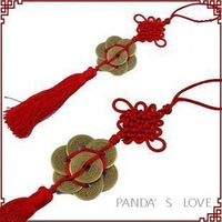 Chinese Traditional Folk Art Chinese Knot Rope Crafts Popular Gifts Copper Coin In The Middle
