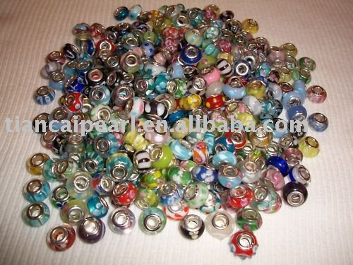 Free shipping by EMS/DHL!! Mix color 925 silver core murano glass beads fit charm bracelet(China (Mainland))