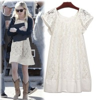 Off shoulder lace pullover dress Size 4/6 White WF-0138