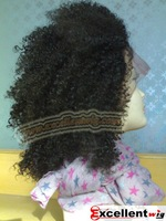 Afros kinky curl Kanekalon fiber Synthtic lace front wig