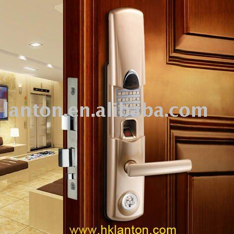 biometric keypad card fingerprint door lock sliding protection used in outside and inside home(China (Mainland))