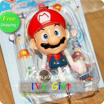 Freeshipping UPS DHL Valentine's Day New Super Mario Bros. Extendable Earphone Key Chain Headphone mp3 mp4 IVU Gift