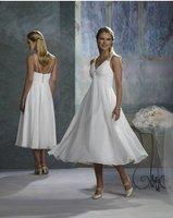 2011 V Neck Short White Beach wedding dress Custom-made all size:2.4.6.10-28