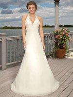 2011 Halter Long Chiffon Beach Bridal/wedding dress Custom all size:2.4.6.10-28