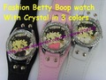 Fashion Betty Boop Watches with crystal in 3 colors 10pcs/lot+Free shipping