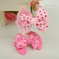 pink clip 100pcs/lot Cute Baby Girls' Hair clips Hairband Hair Accessories Korean ribbon bow bows