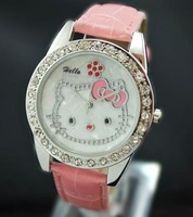 Free ship fee Pink leather Cat Cute kitty CZ fashion Wrist Watch K102