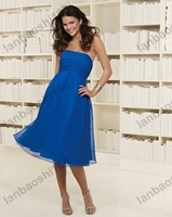 Free Shipping wholesale/retail Spaghetti Straps Ruching Knee-Length Chiffon & Satin Sash Bridesmaid Dress color free