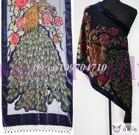 Free shipping wholesale 5pcs Velvet peacock bead Shawl Wrap Stole Scarf/ Long shawls P08