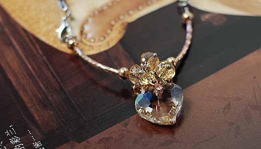 Fashion Jewelry Crystal Heart Pendant Necklace Valentine Gift 20pcs Mixed Lot Free Shipping(China (Mainland))