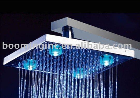 """Le grand escompte, 8"""" en laiton square led tête de douche, 100% garantie, 1 an de garantie, livraison gratuite, grande lumière de température détectable,"""