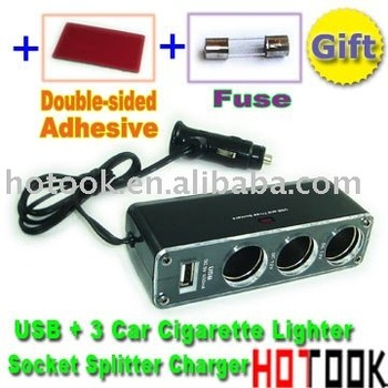 USB + 3 Car Cigarette Lighter Socket Splitter Charger -- free shipping