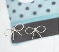 Free shipping Ladies&amp;#39; fashion delicate earrings,   Beautiful beautiful bow earrings, (20 pairs/ lot)