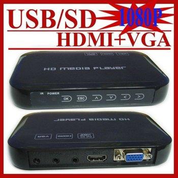 Hot Sale USB Full HD 1080P HDD Media Player HDMI VGA MKV H.264 SD/USB Sample Drop Shipping