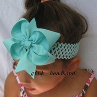 girls hair bows hair band headband -satin crochet headband with hair bow 120pcs/lot