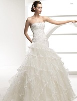 Beaded Strapless Organza Wedding Dress bridal Gown New