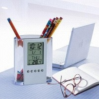 Free shipping+20PCS Transparent calendar penholder / thermometer / timer, alarm clock, gifts!