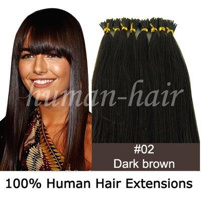 """22 """" cola de queratina na ponta vara extensão do cabelo 0,5 g # 2 cor escura 200strands marrom(China (Mainland))"""