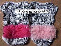 Sample order 16pcs Wholesale 2011 New arrival CUTE wild Zebra ruffle bloomer Baby Romper short body suit