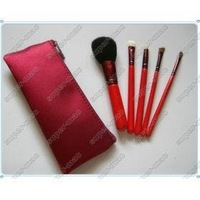 lowest price +Free Shipping wholesale 5 Pieces red Makeup Brush sets+ pouch (40 set/lot)