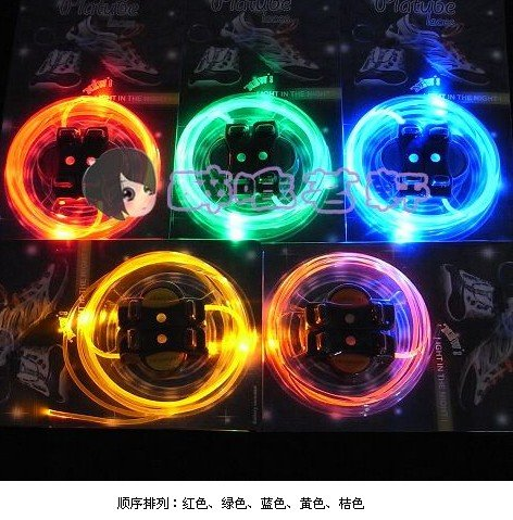 free shipping cost! 50box/lot, Waterproof LED light shoelaces Monopoly shop 15color,mix order,(China (Mainland))