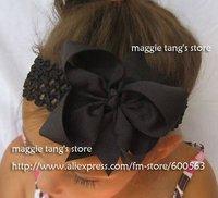 girls hair bows hair band headband -satin crochet headband with hair bow 120pcs/lot