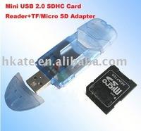 free shipping 10pcs/lot Mini USB 2.0 SD Card Reader+TF/Micro SD Adapter xs155