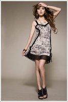 Free Shipping Hot New Women's Stylish Charmming Cotton Chiffon Off Shoulder Strap Dress Retail & Wholesale
