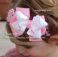 girls hair bows hair band headband satin crochet headband with flowers many colors can mix 100pcs/lot