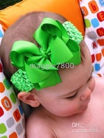 girls hair bows hair band headband satin crochet headband with flowers many colors can mix 120pcs/lot