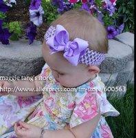 girls hair bows hair band headband satin crochet headband with flowers many colors can mix 120pcs/lot