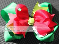 """4.5"""" Girl hair bows attached clip Hair Accessories Baby hair bows Baby hairs clip grosgrain ribbon bows many colors can mix"""