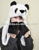 5 pcs/lot  Animal Panda Cartoon Cute Fluffy Plush Hat Cap with Gloves,Wholesale
