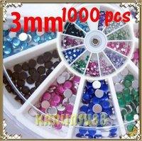 FREE SHIPPING 12 Color Large Round Rhinestones Nail Art Glitter 3mm K349